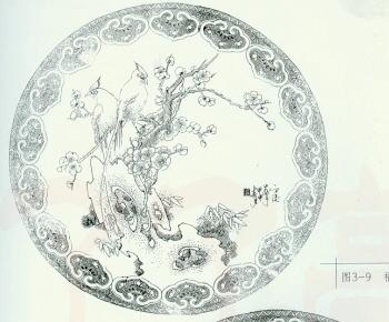 鱼黑白线描装饰画展示图片