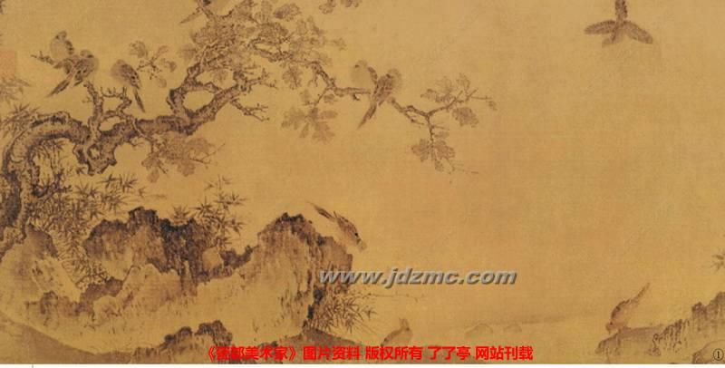 画石画树笔法琐细,但造形具体,如树木枝干节叶,无不合法周到,其画竹画