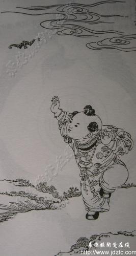 有花纹的陶瓷素描
