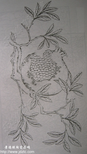 石榴素描画及其步骤