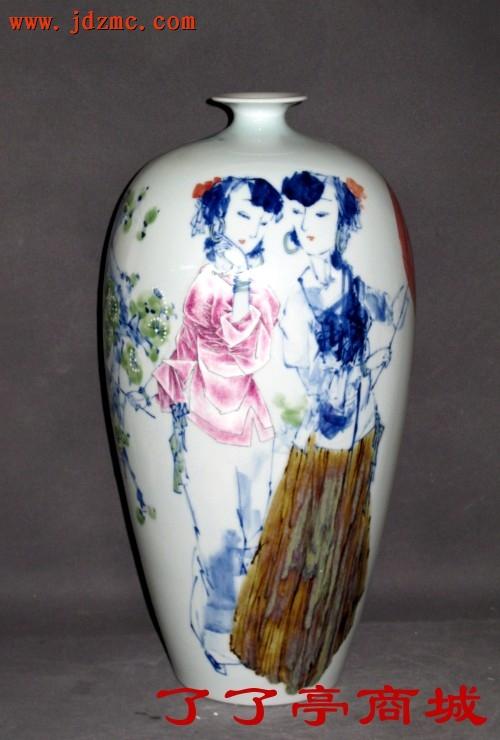 《迎春》.高温颜色釉综合装饰. 江春和(江西省工艺美术师)