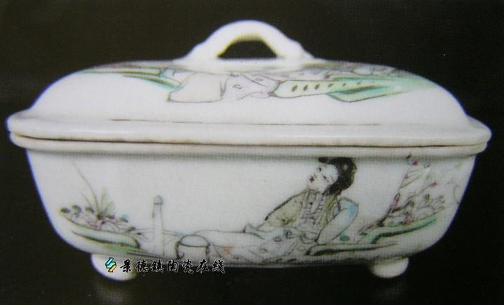 无款・桃花美女・肥皂缸